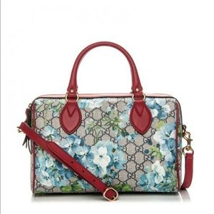 Gucci Blooms Blue & Red Small Boston Bag
